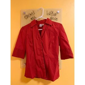 Cinched Red Button Down!